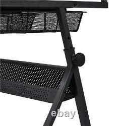 Drawing Desk Drafting Table Adjustable Glass Top Sitting Stool Working Furniture