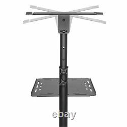 FOREST Black Split-Top Projector Stand Table Trolley Cart with Wheels
