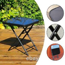 Foldable Coffee Drink Side Table Glass Top Garden Home Furniture Side Stool