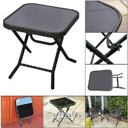 Folding Side Table Glass Top Small Side Stool Drink Coffee Garden Home Furniture