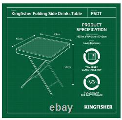 Glass Folding End Table Top Small Side Stool Drinks Garden Patio Home Furniture