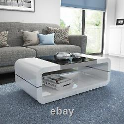 Gloss White Curved Coffee Table with Black Glass Top Tiffany