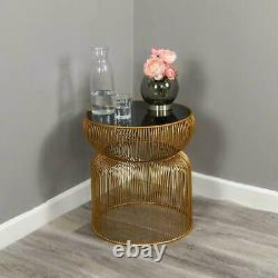 Gold Frame Curve Side Table Black Tinted Glass Top