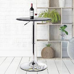 HOMCOM Adjustable Round Bar Table with PU Leather Top Steel Base Bistro Black