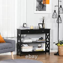 HOMCOM Console Table Side Desk Shelves Drawers Open Top X Support Hallway Black