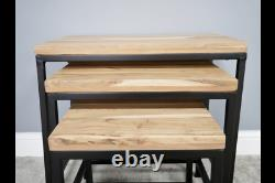 Industrial Style Black Metal Frame Nest Of 3 Tables With Solid Acacia Wood Tops