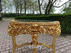 Italian Baroque Style Gold Wooden Table With Black Marble Top