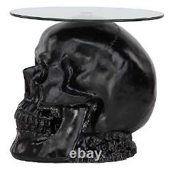 JQ103772 Lost Souls Gothic Skull Glass-Topped Table Black