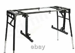 Keyboard Stand DJ Workstation Table Top Piano Holder 2-Tier Double Studio Mount
