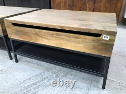 Lift Top Coffee Table With Storage In Mango Wood And Black by made. Com