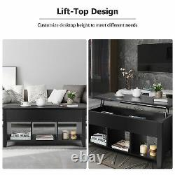Lift Top Coffee Table with Storage Compartment Shelf Living Room Furniture Black