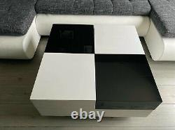 Luxury Black Top High Gloss Coffee Table 2 Drawers White Base Nest Living Room