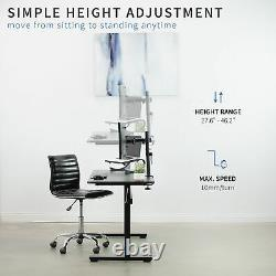Manual Crank Stand Up Height Adjustable Desk Frame Workstation with Table Top