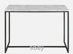 Marble Effect Top Console Table W100cm x D36cm x H72 SCARLET, Black Steel Frame