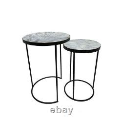 Marble Topped Side Tables Nest of 2 Black Legs Living Room Art Deco Solid