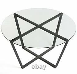 Metro Glass Coffee Table Tempered Clear Glass Top/Black Steel Base