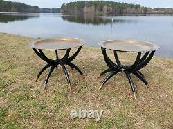 Mid-Century brass top spider legs side table black wooded folding legs Asian