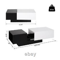 Modern Rectangle Coffee Table Slide Top Storage Furniture Home Office
