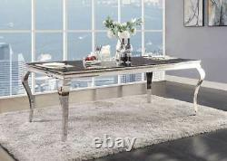 NEW Modern Dining Room 7 piece Black Glass Top & Metal Legs Table Chairs Set CB6