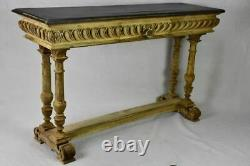 Narrow antique French console table bleached walnut base and black painted top