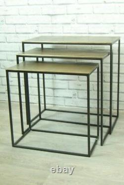 Nest of 3 Tables Antique Gold Metal Top and Black Legs Framed Side Tables