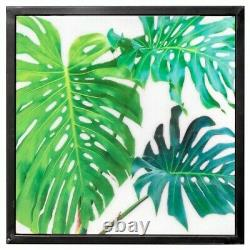 Nest of 3 Tall Tables Green Leaf Design Acrylic Top Black Frame