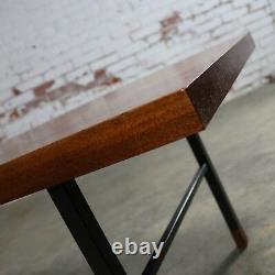 ON SALE! Made in Denmark Coffee Table with Teak Top and Black Metal Base