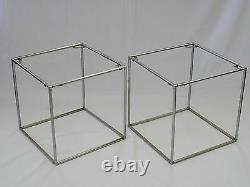 PAIR of CHIC 70's POUL KJAERHOLM STYLE BLACK GLASS TOP CHROME CUBE SIDE TABLE