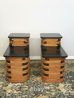 Pair Art Deco Paul Frankl End Tables Rare Black Lacquer Top Bamboo 1940's Sweet