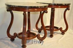Pair of Regency Style Round Side Tables with Black Marble Top, c. 1910's