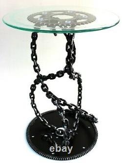 Petrol Head Link Chain Gothic Wine Side Coffee Table with etched glass top