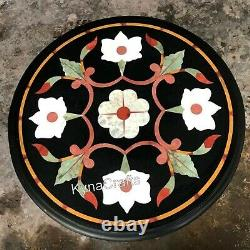 Pietra Dura Art Coffee Table Top Black Stone Sofa Side Table for Decor 16 Inches