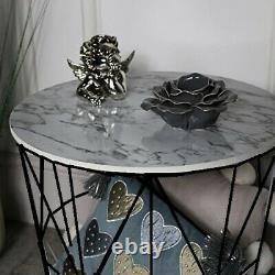 Retro Black Metal Wire White Marble Top Storage Side Table Basket Home Furniture