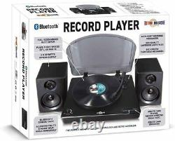 Retro Musique Bluetooth Table Top Turntable Vinyl Record Player + 2x20W Speakers