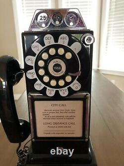 Retro Replica Black Table Top/wall Mount Pay Phone Push Button Corded Land Line