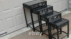 Set Of 4 Antique 19c Chinese Wood Carved Nesting Tables With Glass Top