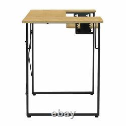 Sew Ready Dart Multipurpose Sewing Table Workstation with Folding Top, Black/Brown