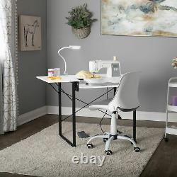 Sew Ready Dart Multipurpose Sewing Table Workstation with Folding Top, Black/White