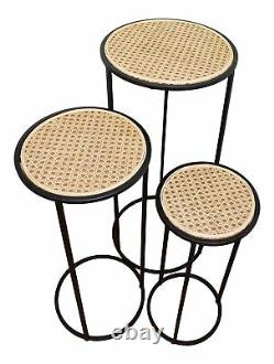 Side Tables Weave Effect Round Top Tall Metal Plant Stands Decor Black Set of 3