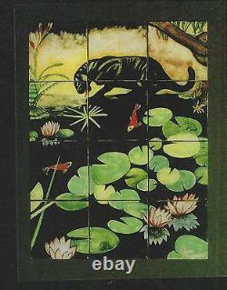 Signed Jan Jacques Black Panther Koi Lily Pad Pond Frogs 12 Tile Table Top