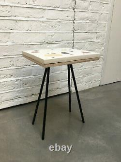 Small Side Table/End table with Terrazzo Top & Black Sprayed Metal Saddle Legs