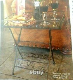 Southern Living At Home Linden House Tray Table Black Iron Removable Glass Top