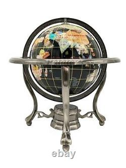Special 10 Tall White Jade and Black Onyx Ocean Table Top Gemstone World Globe
