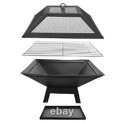 Steel Fire Pit Table Top Square Steel Patio Garden Heater Folding BBQ Camping