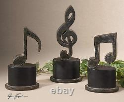 Three XXL Aged Hand Forged Metal Modern Art Music Notes Decorative Table Top