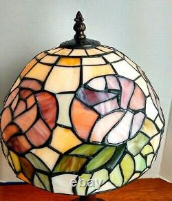 Tiffany Style VTG Flowers/Leaves Multi Color Stained Slag Glass Table Top Lamp