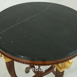 Trojan Horse Occasional side table Mahogany with Black Marble top