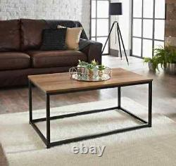 Tromso Stylish Living Room Wooden Top & Metal Frame Contemporary Coffee Table