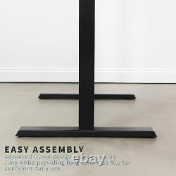 VIVO Black Electric 43 x 24 Stand Up Desk Workstation 3 Section Table Top