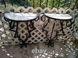 VTG WROUGHT IRON AND MARBLE TOP CONSOLE TABLE Pair Inside or Out heavy Iron